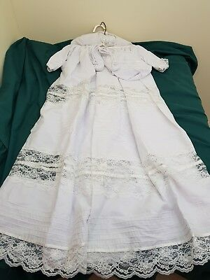 newborn baby long christening baptism gown with under slip bonnet & shoes
