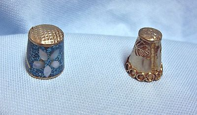 (2)  Vtg Collectible Mexican Silver Thimbles Abalone /Silver leaf design - #12