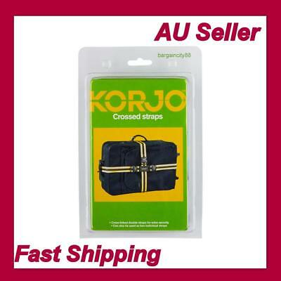 2 pcs Korjo CROSSED LUGGAGE STRAPS 180cm &250cm Long Luggage Case Security Belts