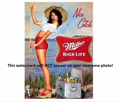 Miller High Life Beer Ad Girl PHOTO,Liquor Bar Sign Vintage Fishing