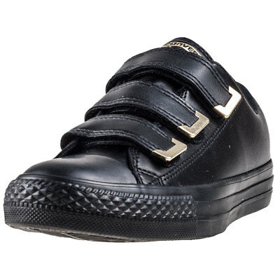 2a121ab4582f45 Converse Chuck Taylor All Star 3v Ox Womens Black Gold Synthetic Trainers