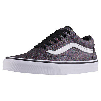 Vans Old Skool Glitter Womens Rainbow Black Canvas Trainers