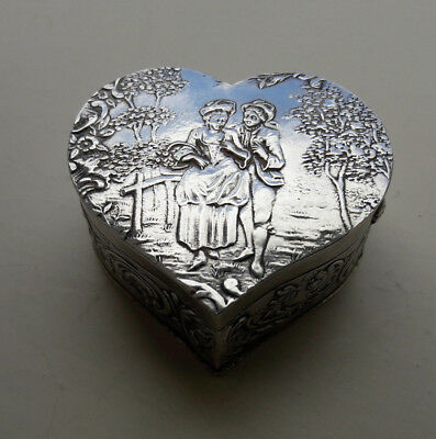 Antique Solid Silver & Gilt Heart Shaped Pill Box 1900