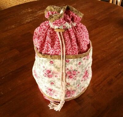 Beautiful Drawstring Project Craft Bag - Pink, Side Pockets, Lined