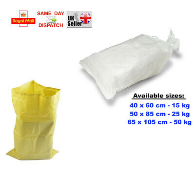 White & Yellow 3 Sizes Of Woven Large Heavy Duty Rubble Sand Bag Sacks Polyprop