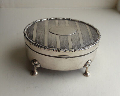 Antique Solid Silver Oval Trinket Box, Chester 1913