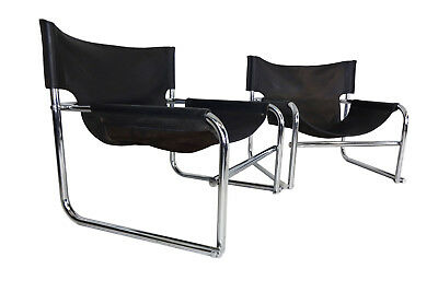 Vintage British Mid Century leather & chrome sling chairs by Rodney Kinsman