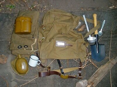 Original USSR Army Military Soldier Set Rucksack Shovel Canteen Tent, etc 10psc!