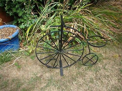 Large Chic Penny Farthing Planter Stand Baskets Black Bicycle Garden