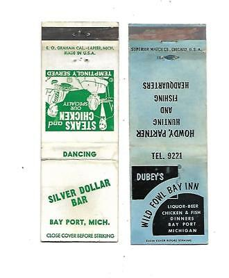 2 Bay Port, Michigan Matchcovers  Wild Fowl Bay Inn & Silver Dollar Bar