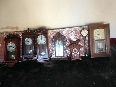 Collection Vintage/antique Wood  Long Case & Wall Clocks For Parts / Repair Only