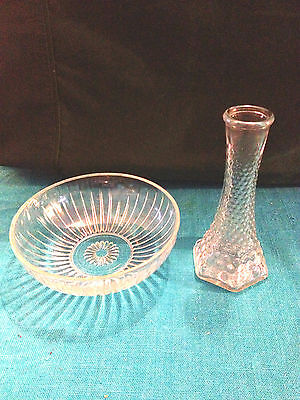 E.O. Brody Co. Vintage Clear Depression glass candy/serving dish and Vase USA