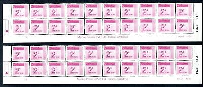 1985 ZIMBABWE POSTAGE DUE 2c Bottom 2 Rows  1A and 1B D29 UNC
