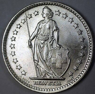 1964 B Switzerland 2 Francs Brilliant Uncirculated Helvetia Silver Coin