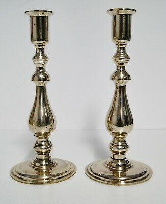 VINTAGE SOLID BRASS CANDLE HOLDERS, ENGLAND, 1950s