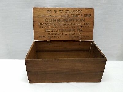 Vintage Antique Wood Advertising Box Dr. Medicine Bottle Box Asthma Lungs 1870s