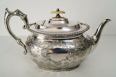 ANTIQUE EPNS VICTORIAN TEA POT, JAMES DIXON & SON 1870s