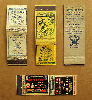 4 diff NATIONAL RECOVERY ACT (1933-35) MATCHCOVERS