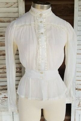 Vintage VictorianSheer Cotton Gauze & Lace Blouse Top Gunne Style Romantic Boho