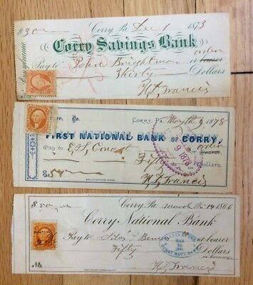 old bank checks with revenue stamps