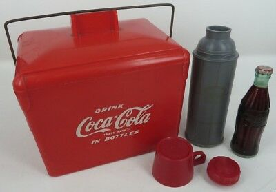 salesman sample Coca Cola IN BOTTLES plastic miniature cooler THERMOS 1950 toy !