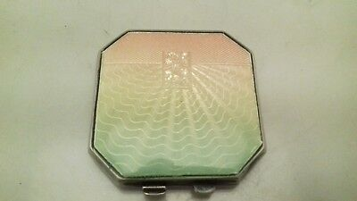 Vintage Sterling Silver Guilloche Enamel Compact 1947