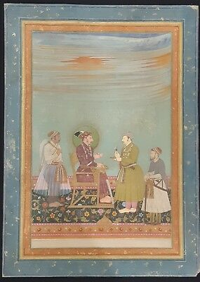 Antique islamic mughal miniature handmade painting of emperor Jehangeer 18th C