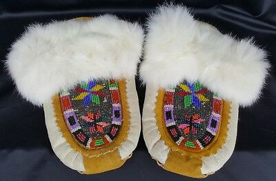 Beaded And Leather Fur Moccasins