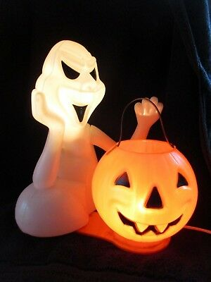 Vintage 70's Plastic Double Lighted Halloween Ghost & Pumpkin Holiday Decoration