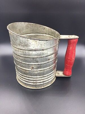 Vintage Bromwell's Flour Sifter with Red Wooden Knob Handle