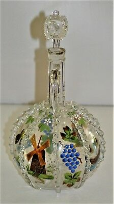 Antique Dutch Enameled Glass Carafe Wedding Decanter Ships Birds Windmills
