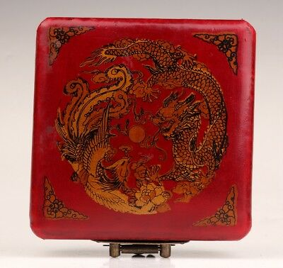 Red Leather Dragon Phoenix Adorn Boxe China Old Wedding Gift