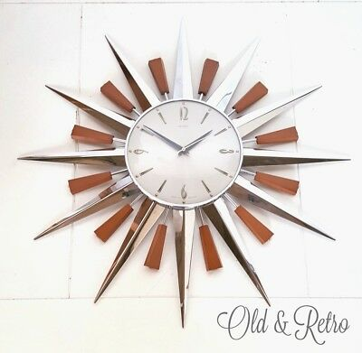 Superb 60s 70s Iconic Mid Century Metamec Starburst Sunburst chrome Wall Clock
