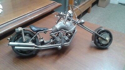 Decorative Scrap Metal Art Nuts and Bolts Chopper Motorcycle very detailed