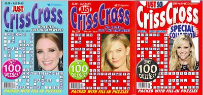 Just Criss Cross- 3 Book Set - Over 300 Puzzles - Brand New __ Freepost Uk