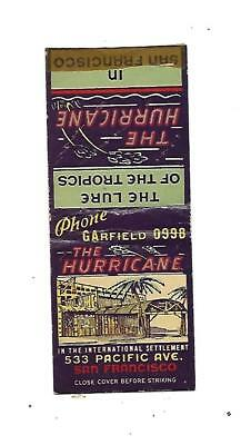 The Hurricane    Matchcover   Pacific Ave.  San Francisco   Lure of the Tropics
