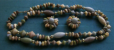EARTH TONES - Necklace & Clip Earrings Set - Costume Jewelry - Vtg
