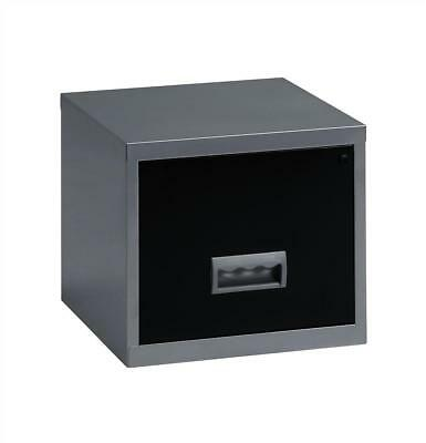 Pierre Henry Filing Cabinet Steel Lockable 1 Drawer A4 Silver and Black Ref 0990