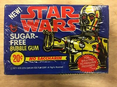 VINTAGE STAR WARS Sugar Free Bubble Gum, FOIL FACTORY SEALED BOX TOPPS 1977-78