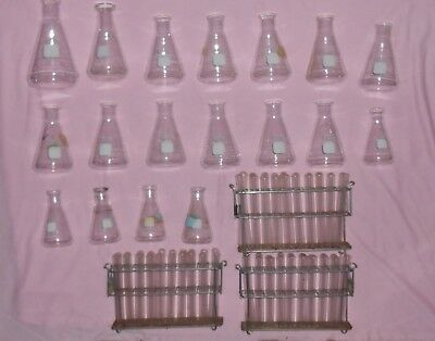 Lot of Chemistry glassware Pyrex flask 4980 - 125ml 250ml 500ml test tubes 5320
