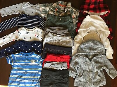 BABY BOY CLOTHES 0-3 mo. LOT - Carter's + Pants, Hoodies, Long Sleeve, Outfits