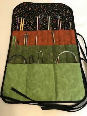 Elegant Handmade PATCHWORK CALICO Quilted cotton fabric knitting needle holder