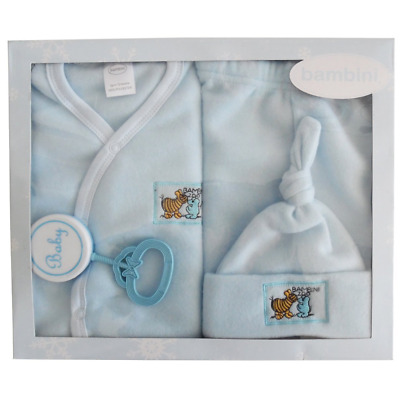 Baby Boy Newborn Bambini 4 Piece Fleece Set - Blue  - Made in USA