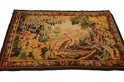Antique Authentic French Aubusson Tapestry Worn Green 3'x5'(84cm x 148cm) C.1890