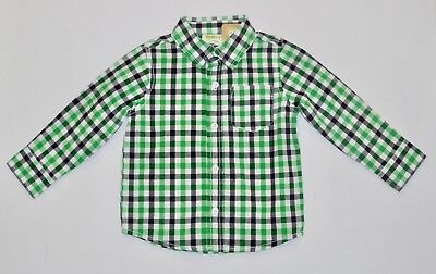 """NWT Crazy 8 """"Prep for Parties"""" Green Blue White Plaid Button Front Top, 18-24 mo"""