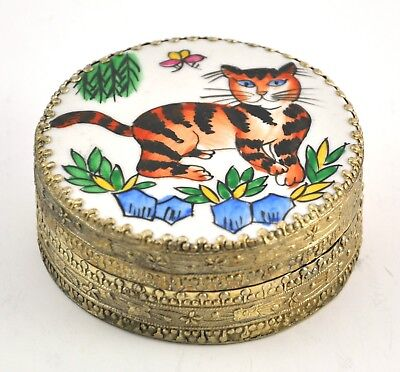 Vintage Chinese Old Porcelain Shard Box Handmade Tibetan Silver Cat Butterfly