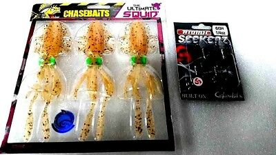fishing lures Chasebaits The Ultimate Squid soft plastics + 1 x seekerz as pic