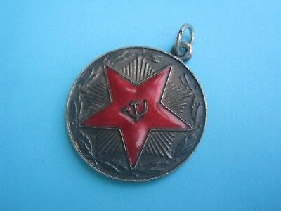 Original Russian USSR 20 Years of Irreproachable Service Medal Badge, SILVER