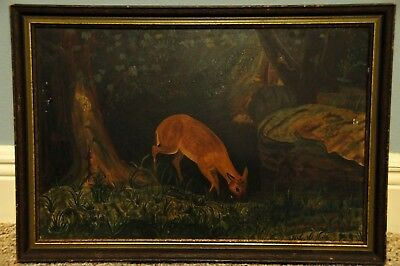 Antique 19th c Folk Art Landscape Animal Oil Painting By African American Artist