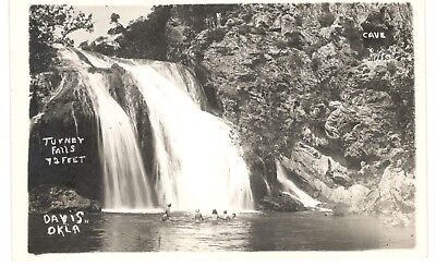 Davis Ok Oklahoma Postcard Rppc Turner Water Falls Swimming And People In Cave